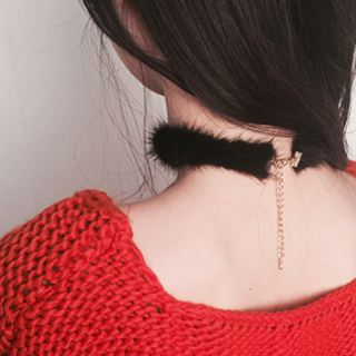 *mink choker (ivory, beige, brown, black, gray)