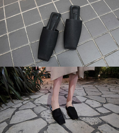 *square mule slipper (2colors!)