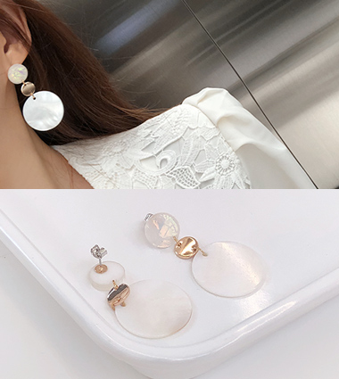 double marble earring