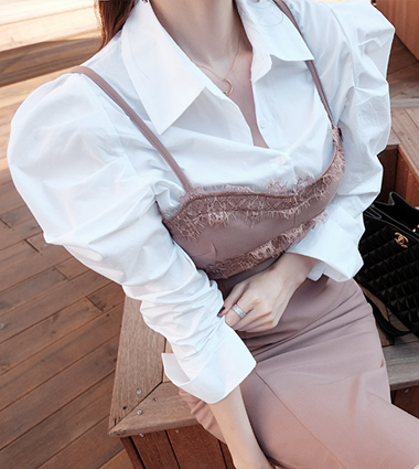 shirring puff blouse(2colors!)